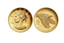 Moneda en Oro 24 kilates de US$100 acuñada por Estados Unidos circulará desde abril próximo