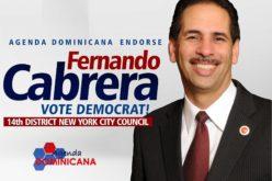 Entidad Agenda Dominicana respalda aspiración de reelegirse del consejal Fernando Cabrera en El Bronx, NY