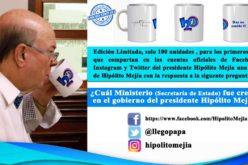 Hipólito Mejía regalando tazas en diseño exclusivo con su firma y el logo del PRM